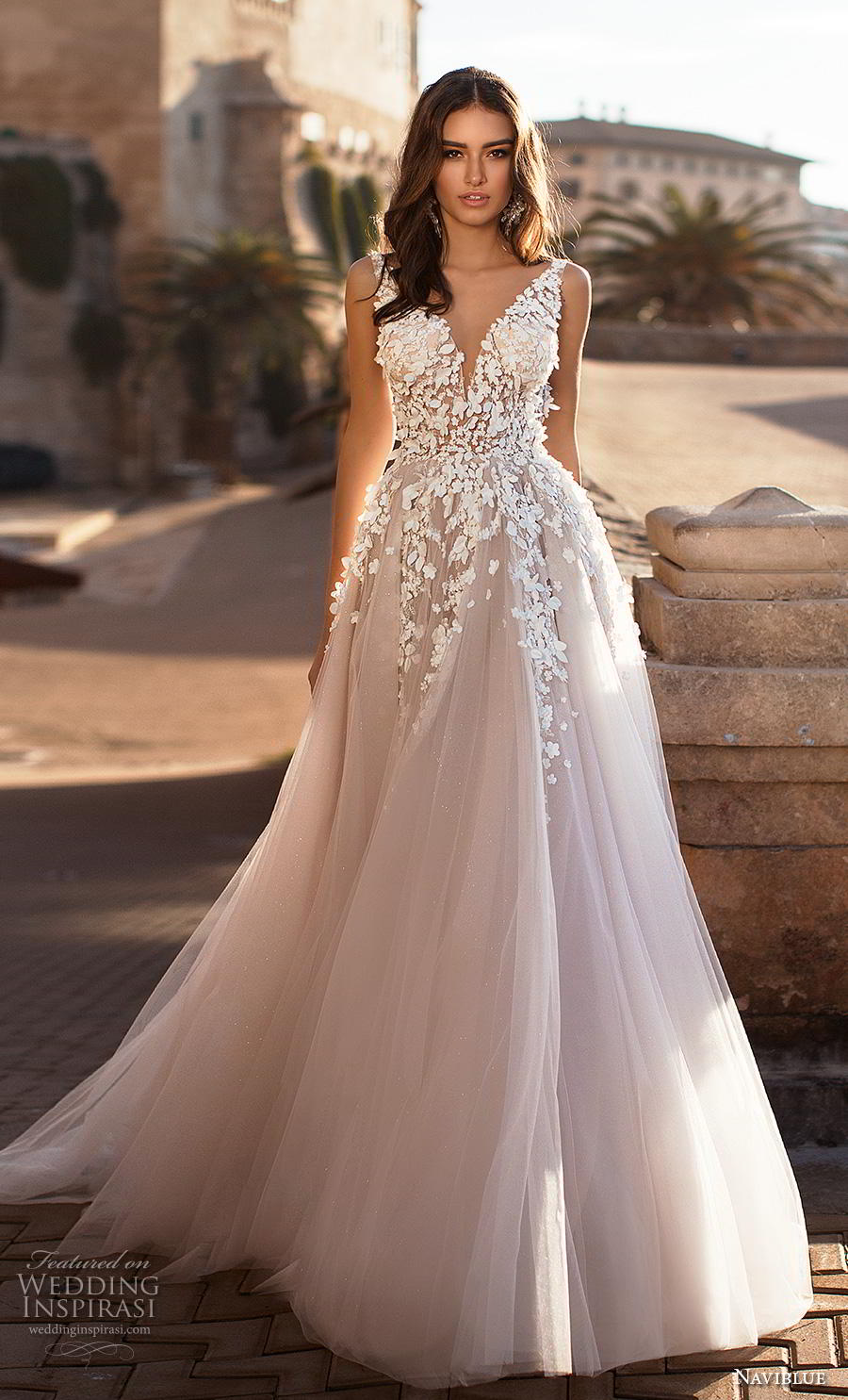 naviblue 2019 bridal sleeveless v neck heavily embellished bodice tulle skirt romantic blush a  line wedding dress backless sweep train (1) mv