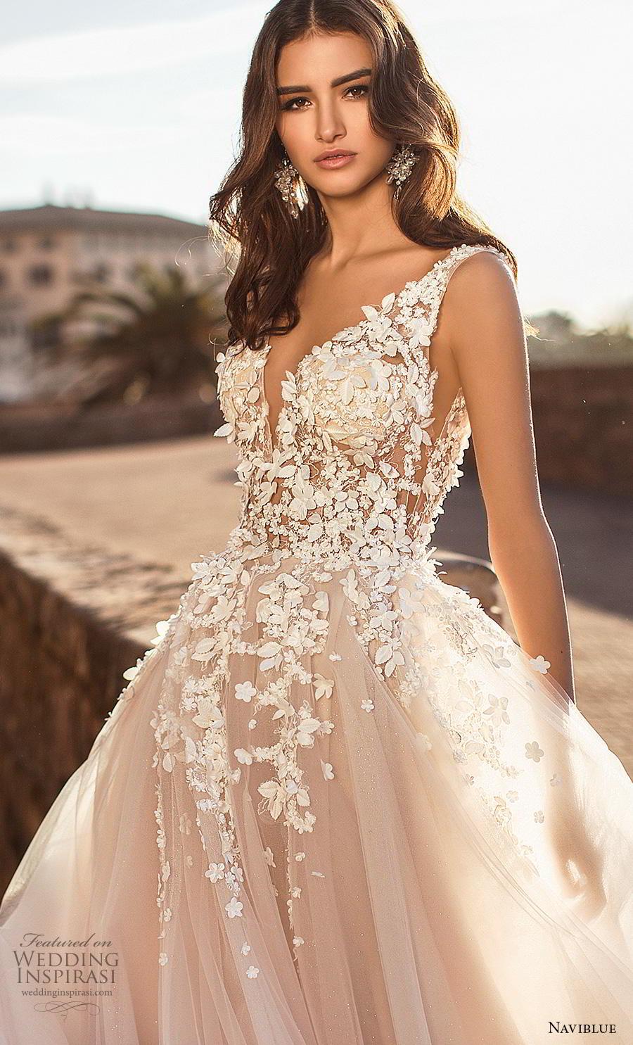 naviblue 2019 bridal sleeveless v neck heavily embellished bodice tulle skirt romantic blush a  line wedding dress backless sweep train (1) zv