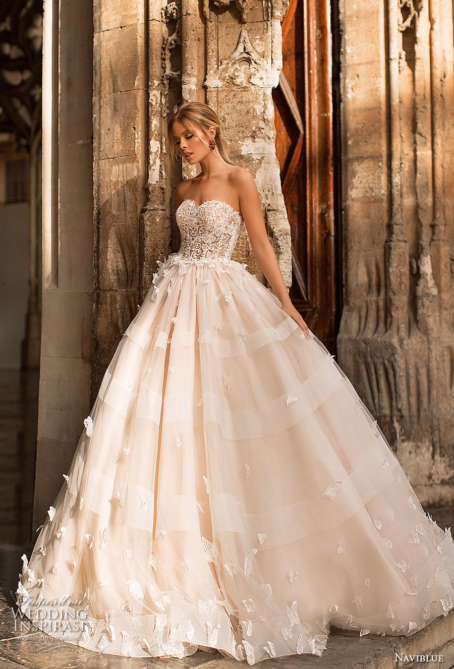 naviblue 2019 bridal strapless sweetheart neckline heavily embellished bodice princess ball gown a  line wedding dress sweep train (2) mv