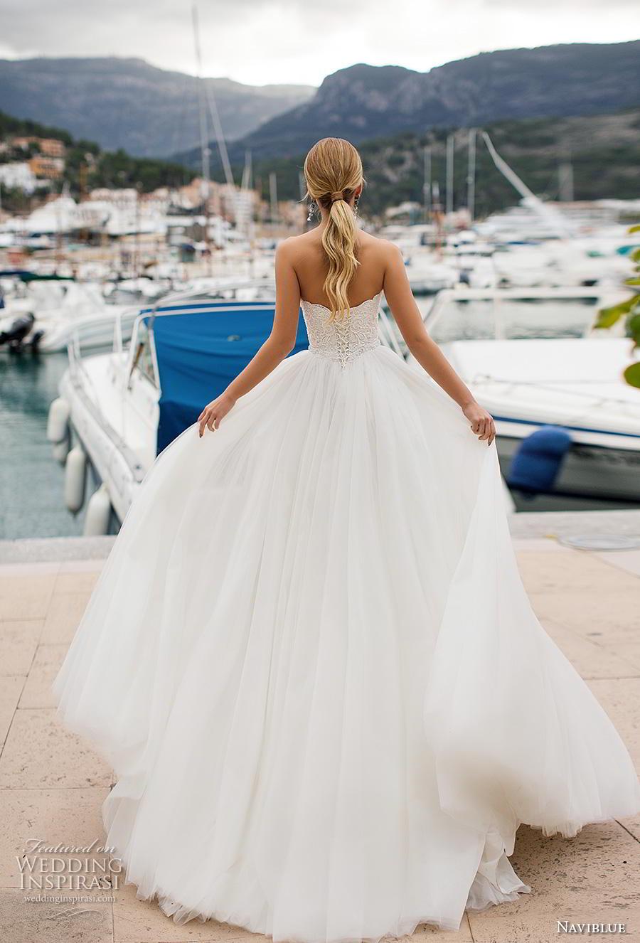 naviblue 2019 bridal strapless sweetheart neckline heavily embellished bodice romantic a  line wedding dress cross strap back chapel train (11) bv