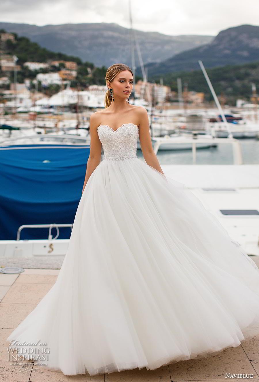 naviblue 2019 bridal strapless sweetheart neckline heavily embellished bodice romantic a  line wedding dress cross strap back chapel train (11) mv
