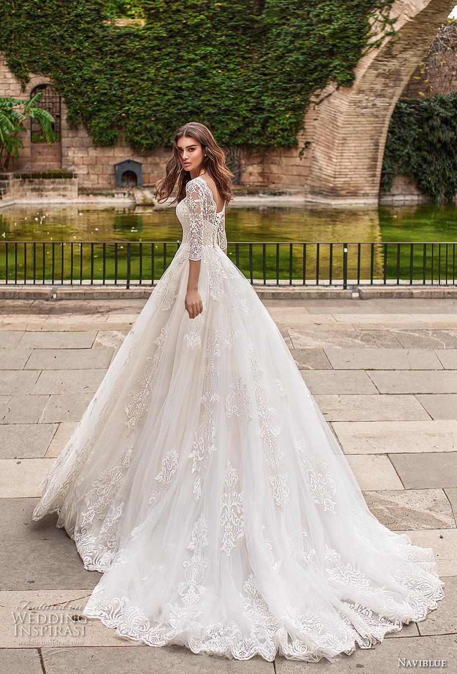 naviblue 2019 bridal three quarter sleeves illusion bateau sweetheart neckline full embellishment elegant a  line wedding dress chapel train (17) bv