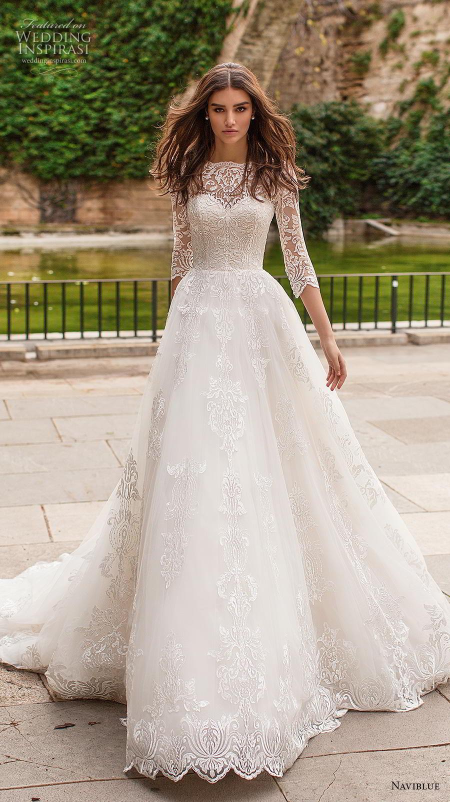 naviblue 2019 bridal three quarter sleeves illusion bateau sweetheart neckline full embellishment elegant a  line wedding dress chapel train (17) mv