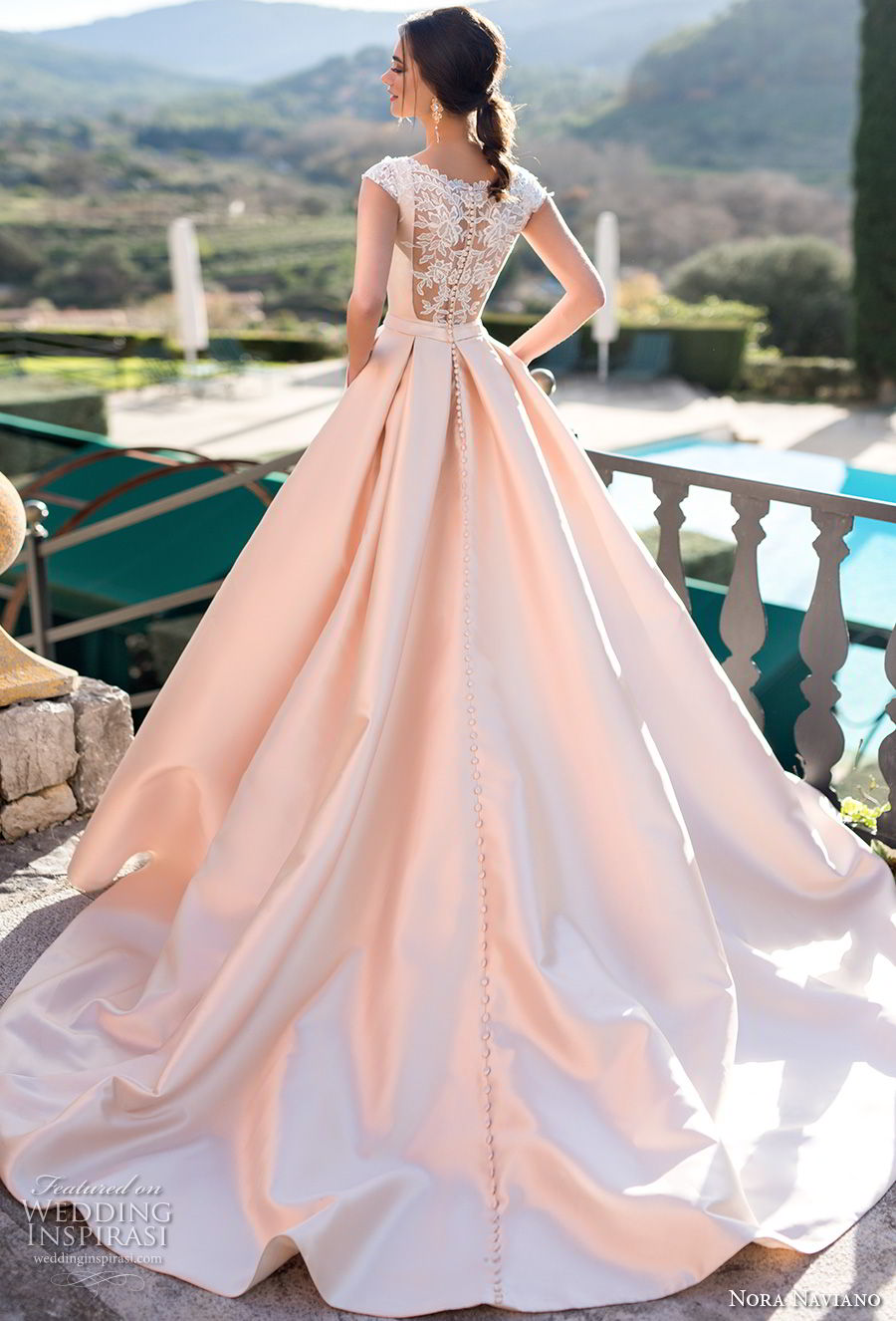 nora naviano 2019 bridal cap sleeves bateau neckline simple clean minimalist elegant blush a  line wedding dress with pockets covered lace back chapel train (4) bv
