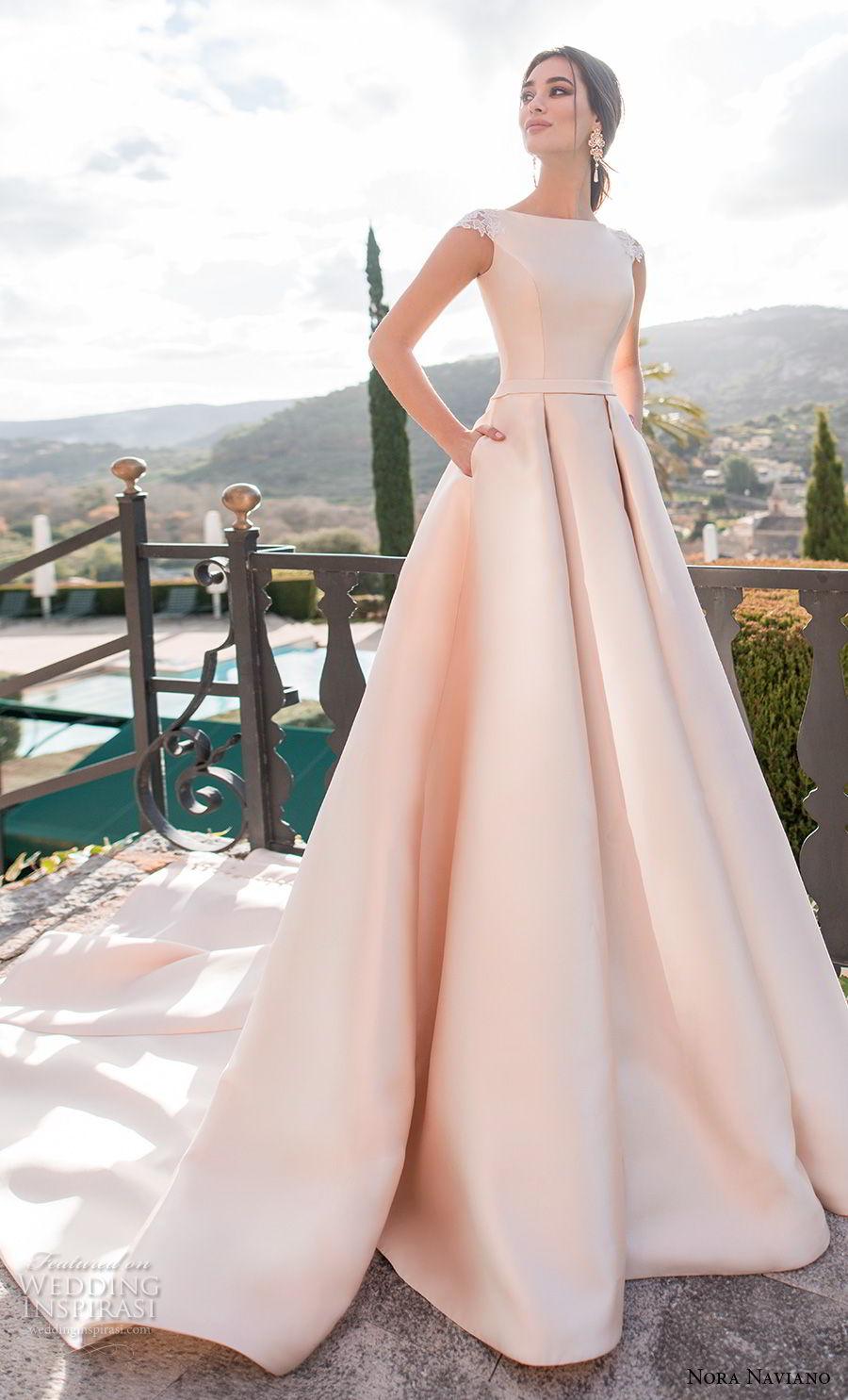 c89d6c911afe nora naviano 2019 bridal cap sleeves bateau neckline simple clean  minimalist elegant blush a line wedding