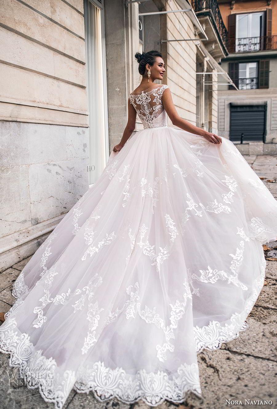 nora naviano 2019 bridal cap sleeves sweetheart neckline full embellishment princess blush a  line wedding dress sheer lace back chapel train (14) bv