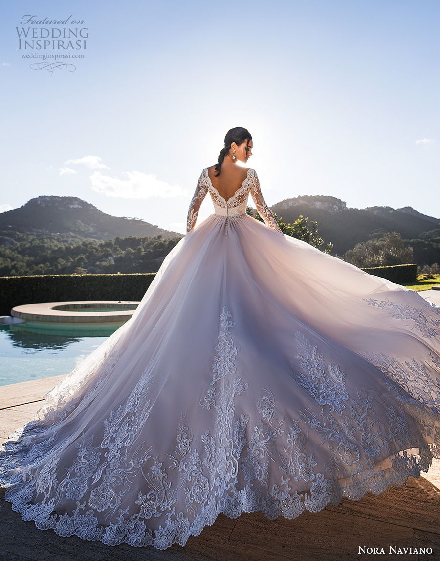 nora naviano 2019 bridal long sleeves deep v neck heavily embellished bodice romantic blush soft a  line wedding dress open v back chapel train (18)  bv