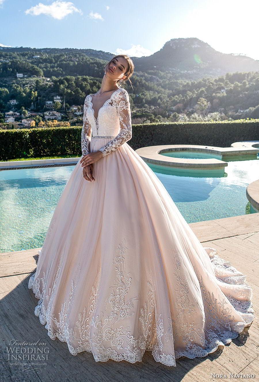 nora naviano 2019 bridal long sleeves deep v neck heavily embellished bodice romantic blush soft a  line wedding dress open v back chapel train (18)  mv