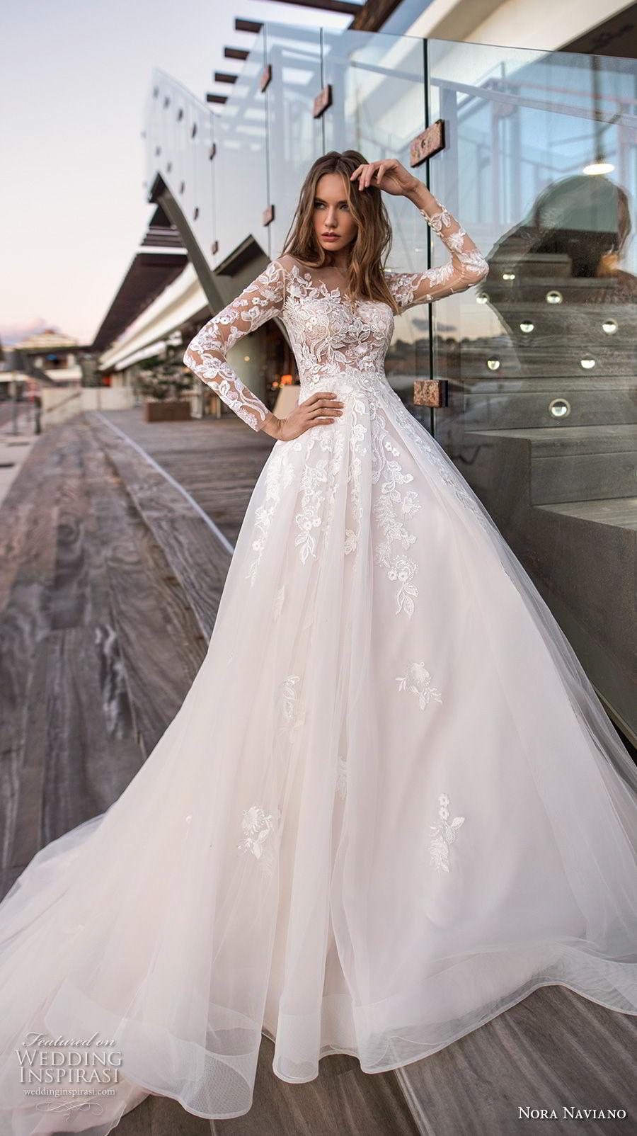 nora naviano 2019 bridal long sleeves illusion bateau neckline heavily embellished bodice bodice romantic a  line wedding dress lace back (17) mv