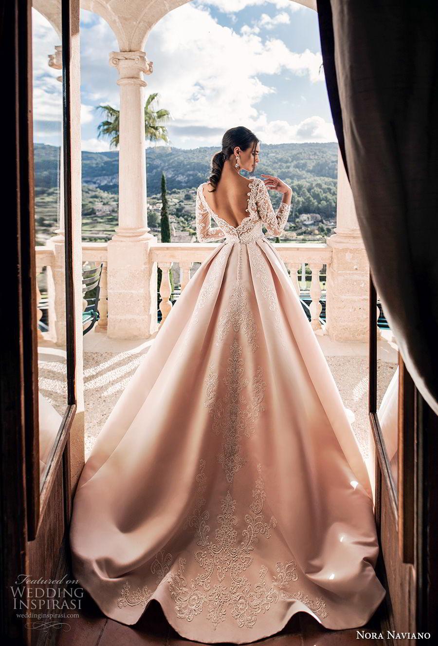 nora naviano 2019 bridal long sleeves illusion bateau sweetheart neckline full embellishment romantic princess pink a  line wedding dress v back chapel train (11) bv