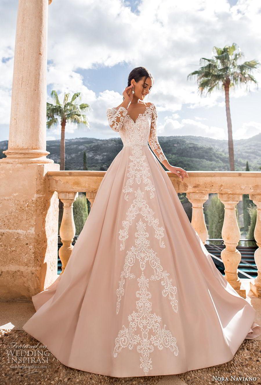 nora naviano 2019 bridal long sleeves illusion bateau sweetheart neckline full embellishment romantic princess pink a  line wedding dress v back chapel train (11) mv