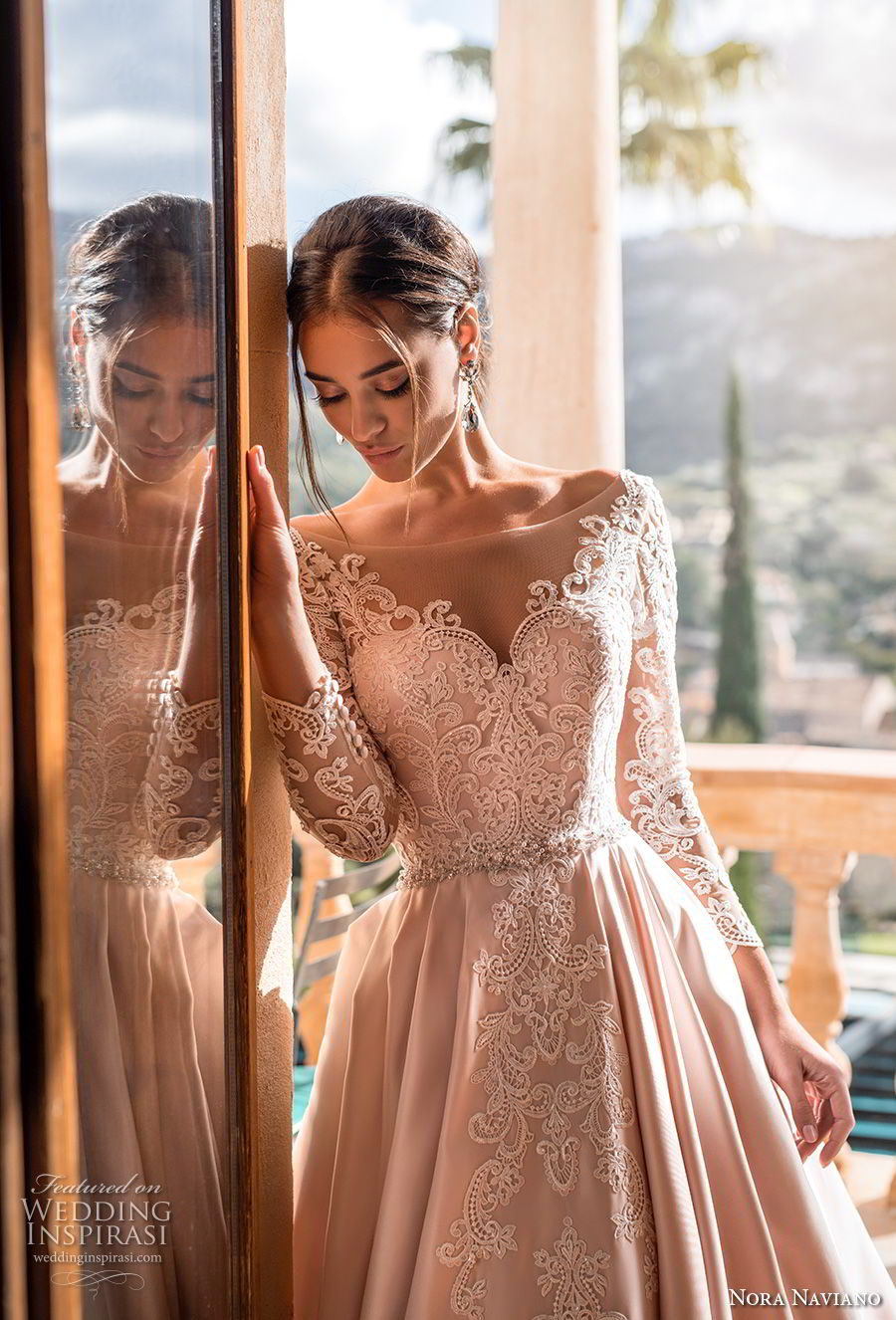 nora naviano 2019 bridal long sleeves illusion bateau sweetheart neckline full embellishment romantic princess pink a  line wedding dress v back chapel train (11) zv