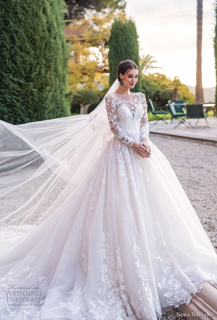 nora naviano 2019 bridal long sleeves illusion jewel sweetheart neckline heavily embellished bodice princess ball gown a  line wedding dress royal train (1) mv