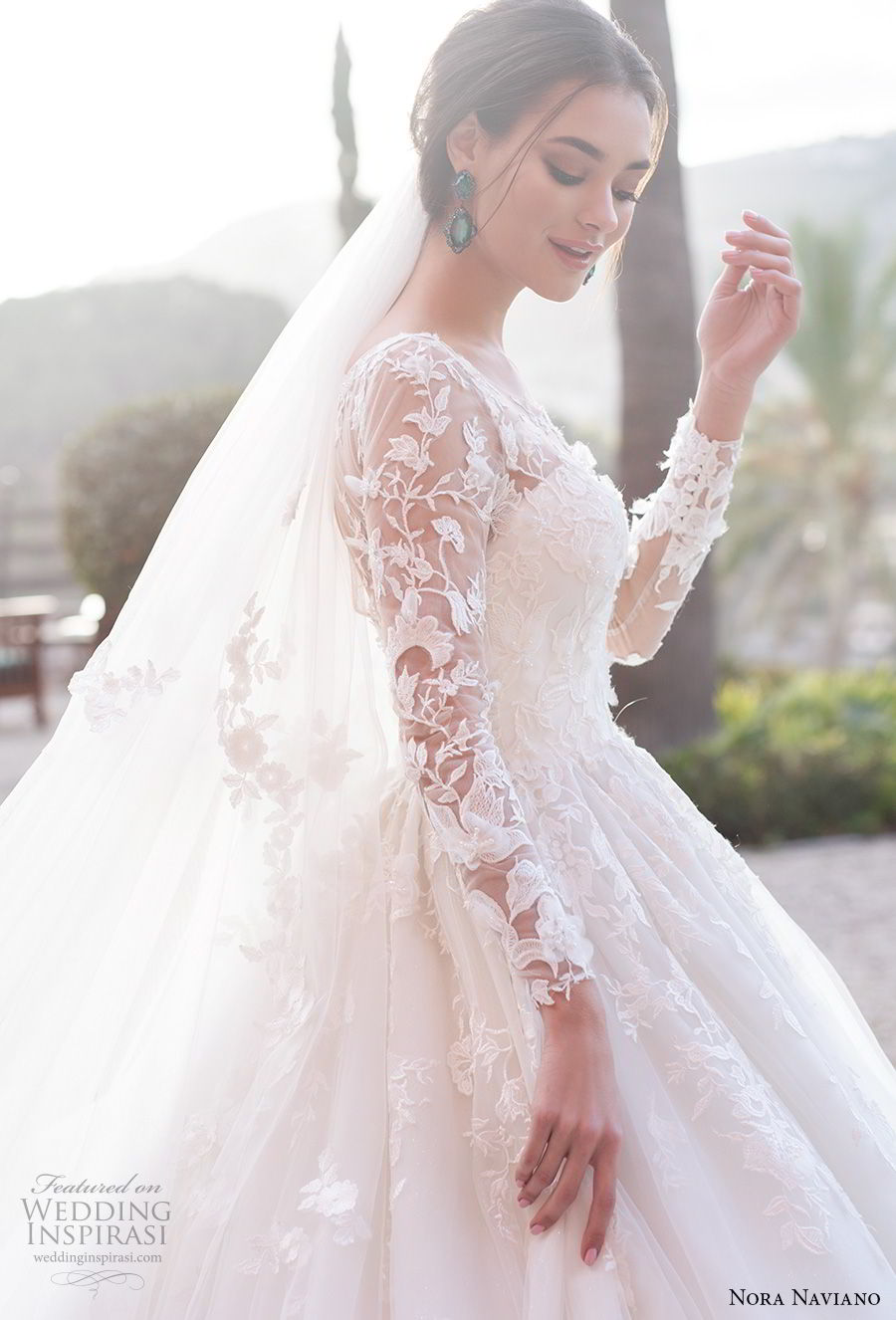 nora naviano 2019 bridal long sleeves illusion jewel sweetheart neckline heavily embellished bodice princess ball gown a  line wedding dress royal train (1) zv