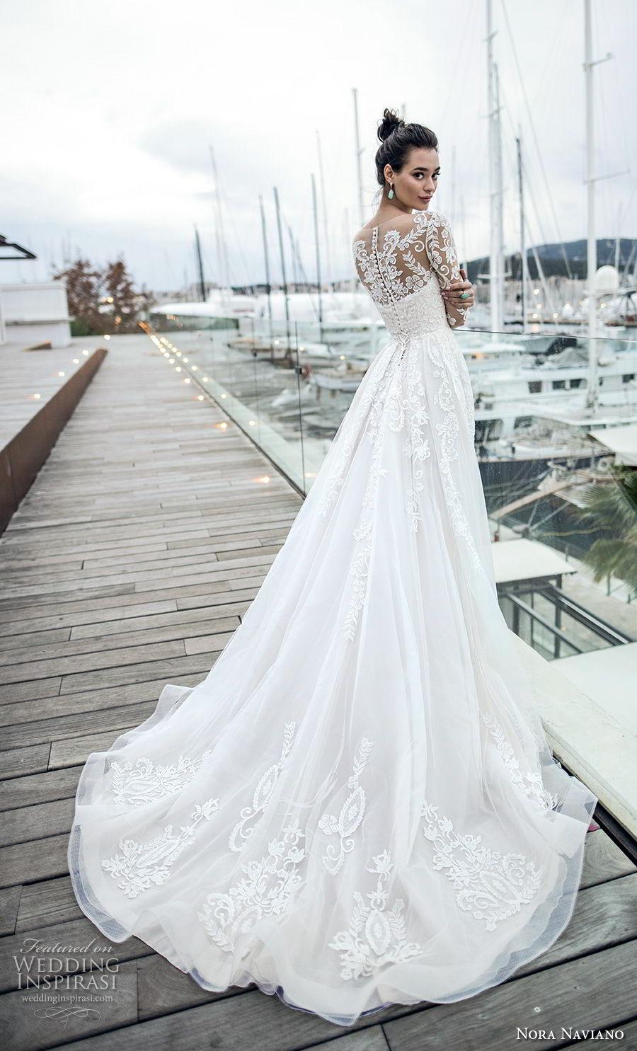 nora naviano 2019 bridal long sleeves sheer bateau neckline full embellishment romantic elegant a  line wedding dress sheer lace back chapel train (15) bv
