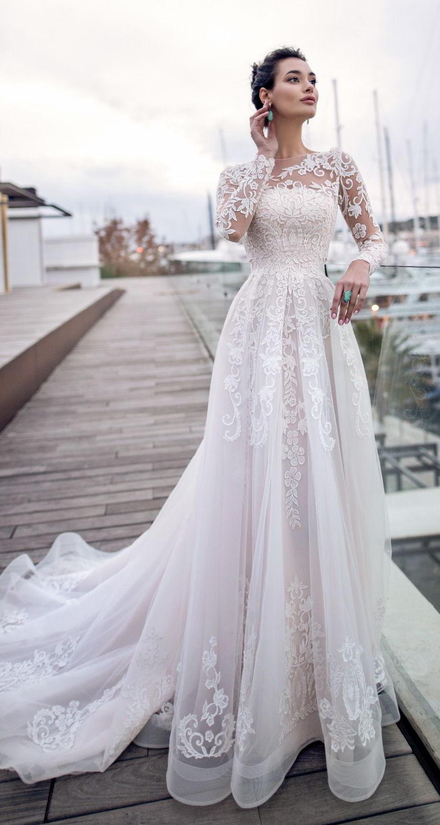 nora naviano 2019 bridal long sleeves sheer bateau neckline full embellishment romantic elegant a  line wedding dress sheer lace back chapel train (15) mv