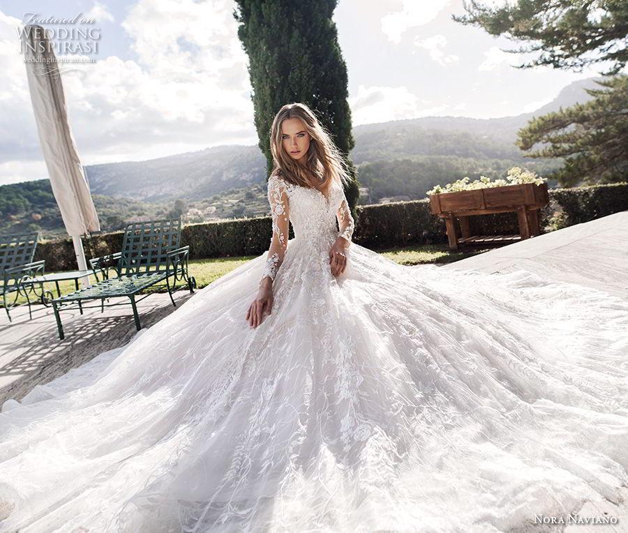 nora naviano 2019 bridal long sleeves sweetheart neckline full embellishment princess romantic ball gown a  line wedding dress sheer button back long train (2) mv