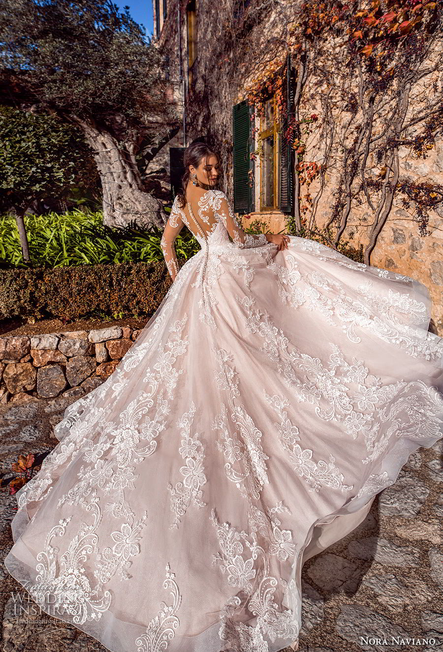 nora naviano 2019 bridal long sleeves sweetheart neckline full embellishment princess romantic ball gown a  line wedding dress sheer button back royal train (5) bv