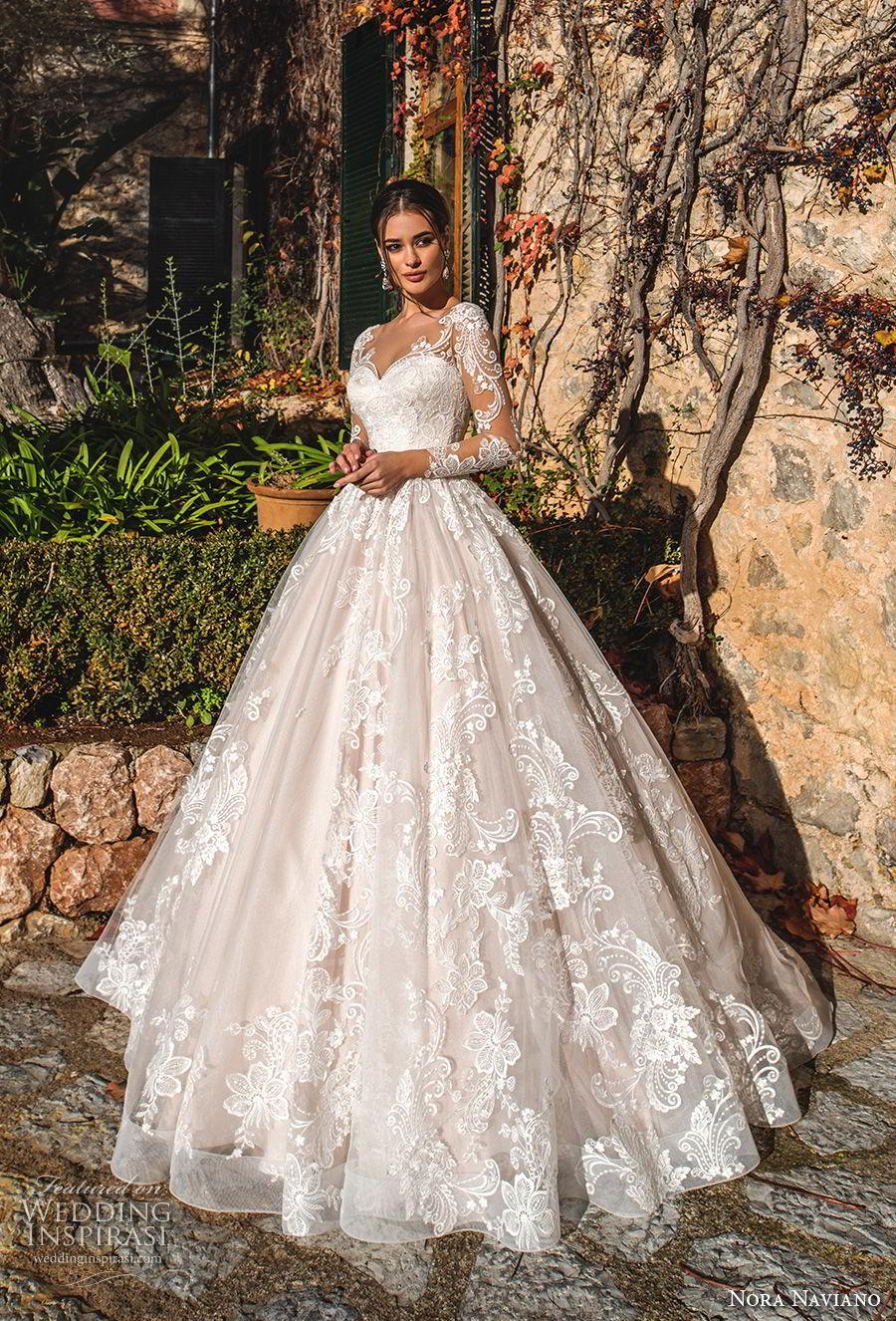 nora naviano 2019 bridal long sleeves sweetheart neckline full embellishment princess romantic ball gown a  line wedding dress sheer button back royal train (5) mv