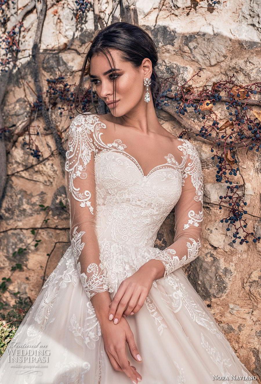 nora naviano 2019 bridal long sleeves sweetheart neckline full embellishment princess romantic ball gown a  line wedding dress sheer button back royal train (5) zv