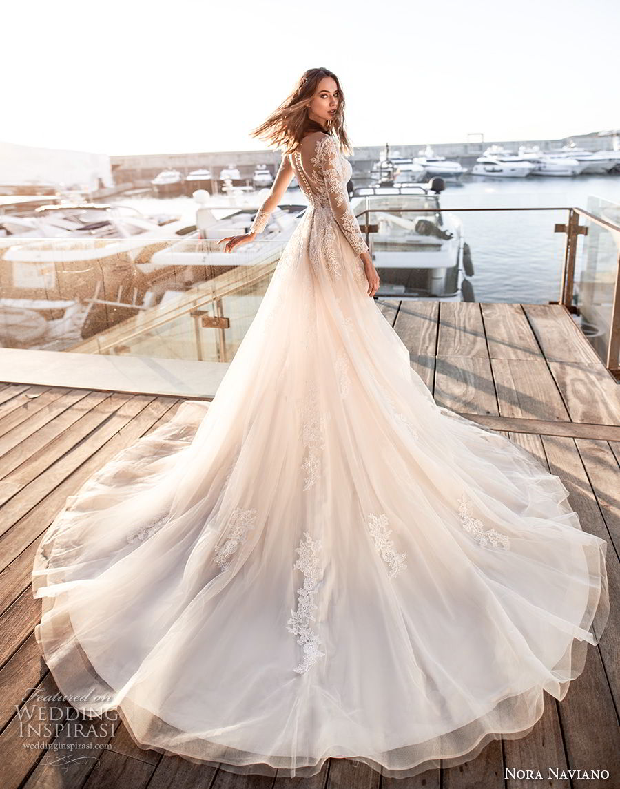 nora naviano 2019 bridal long sleeves sweetheart neckline heavily embellished bodice romantic soft a  line wedding dress sheer button back chapel train (12) bv