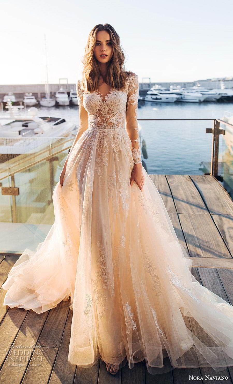 nora naviano 2019 bridal long sleeves sweetheart neckline heavily embellished bodice romantic soft a  line wedding dress sheer button back chapel train (12) mv
