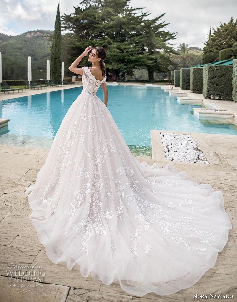 nora naviano 2019 bridal off the shoulder deep sweetheart neckline full embellishment princess ball gown a  line wedding dress corset back royal train (9) bv