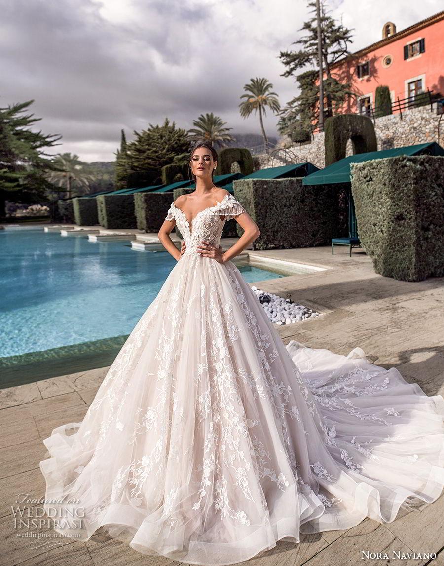 nora naviano 2019 bridal off the shoulder deep sweetheart neckline full embellishment princess ball gown a  line wedding dress corset back royal train (9) mv