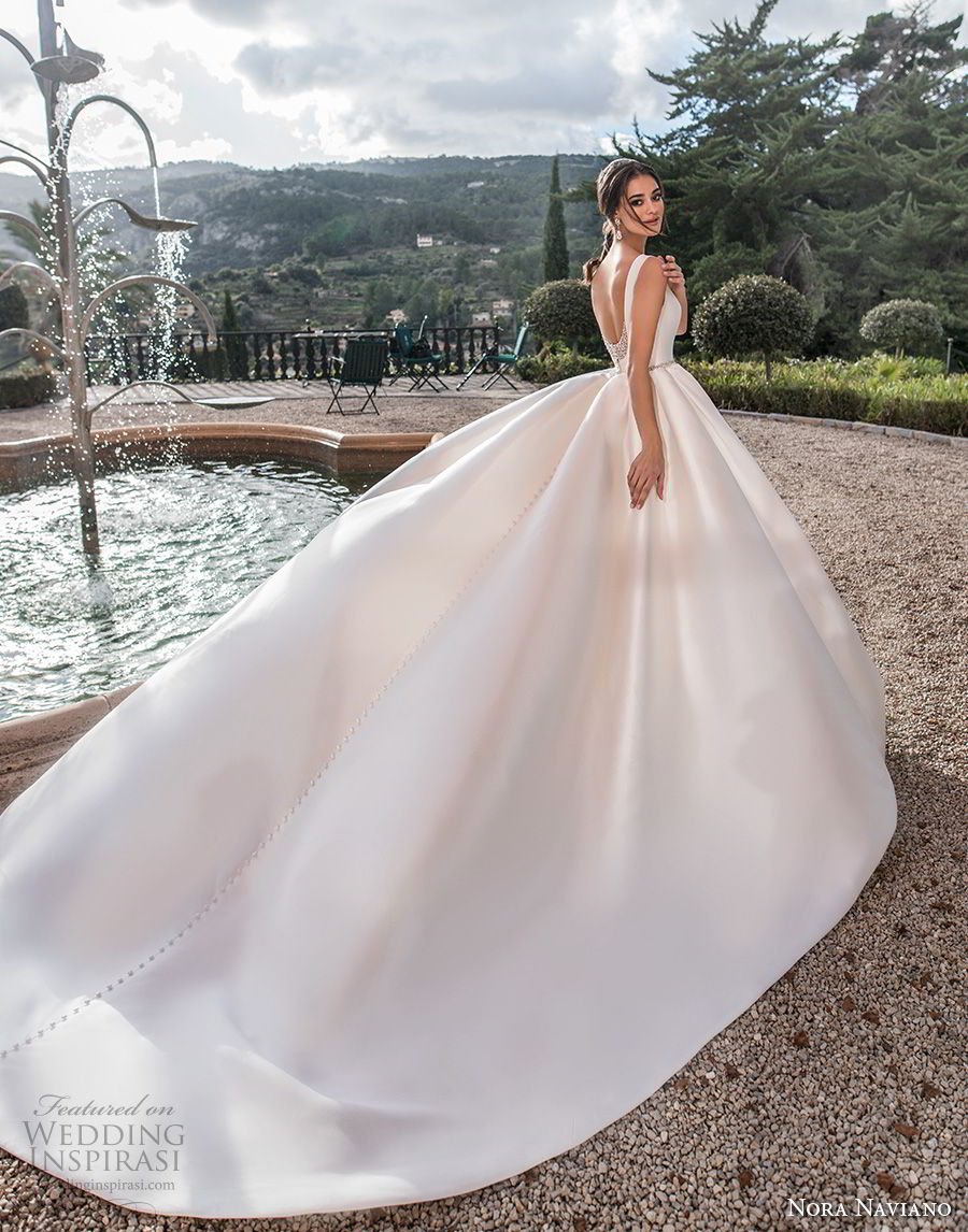 nora naviano 2019 bridal sleeveless bateau neckline simple clean minimalist elegant a  line wedding dress open scoop back royal train (16) bv