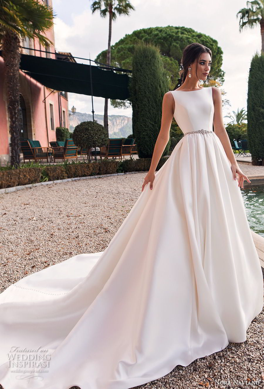 nora naviano 2019 bridal sleeveless bateau neckline simple clean minimalist elegant a  line wedding dress open scoop back royal train (16) mv