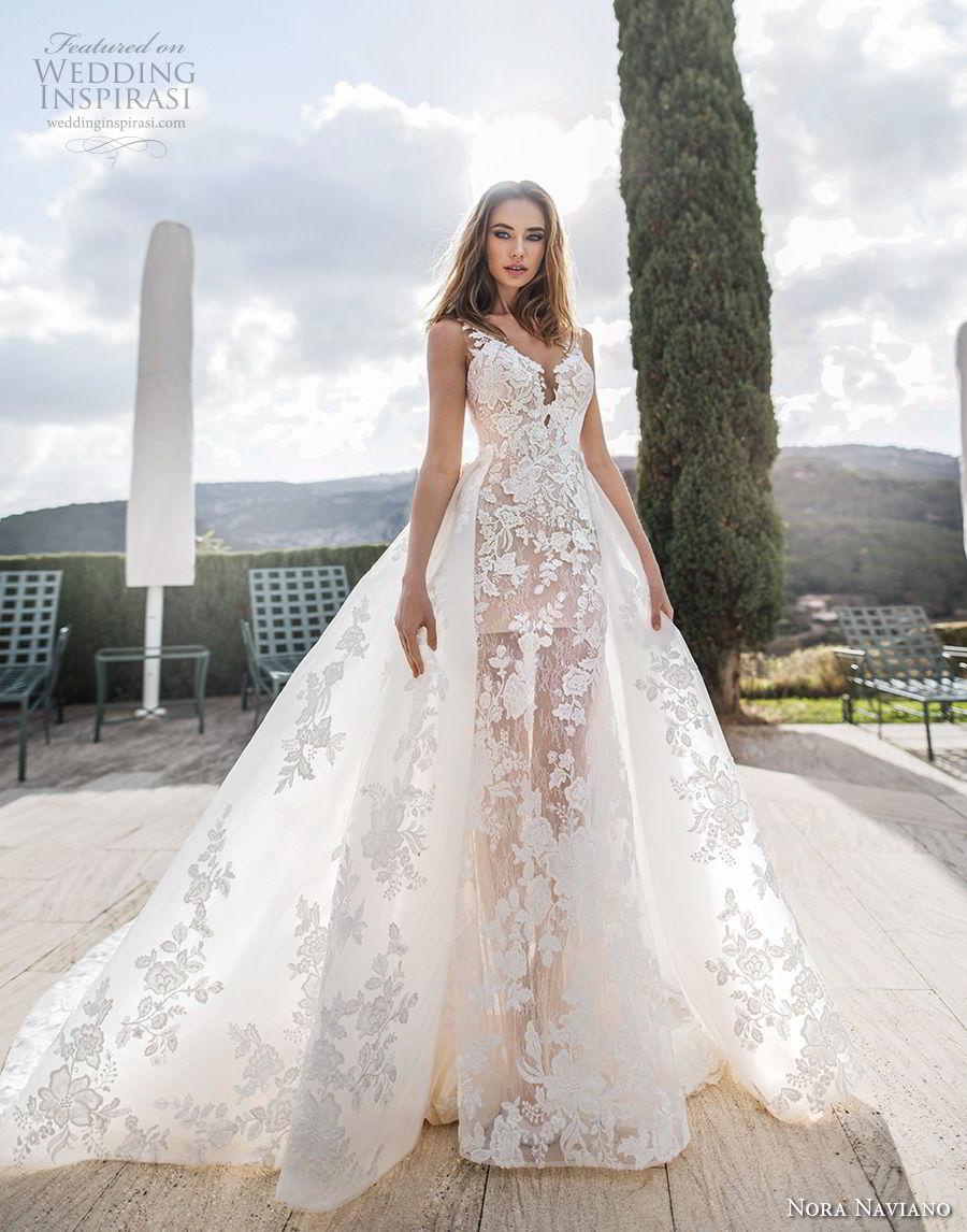 nora naviano 2019 bridal sleeveless v neck full embellishment romantic ball gown wedding dress overskirt sheer button back chapel train (13) mv