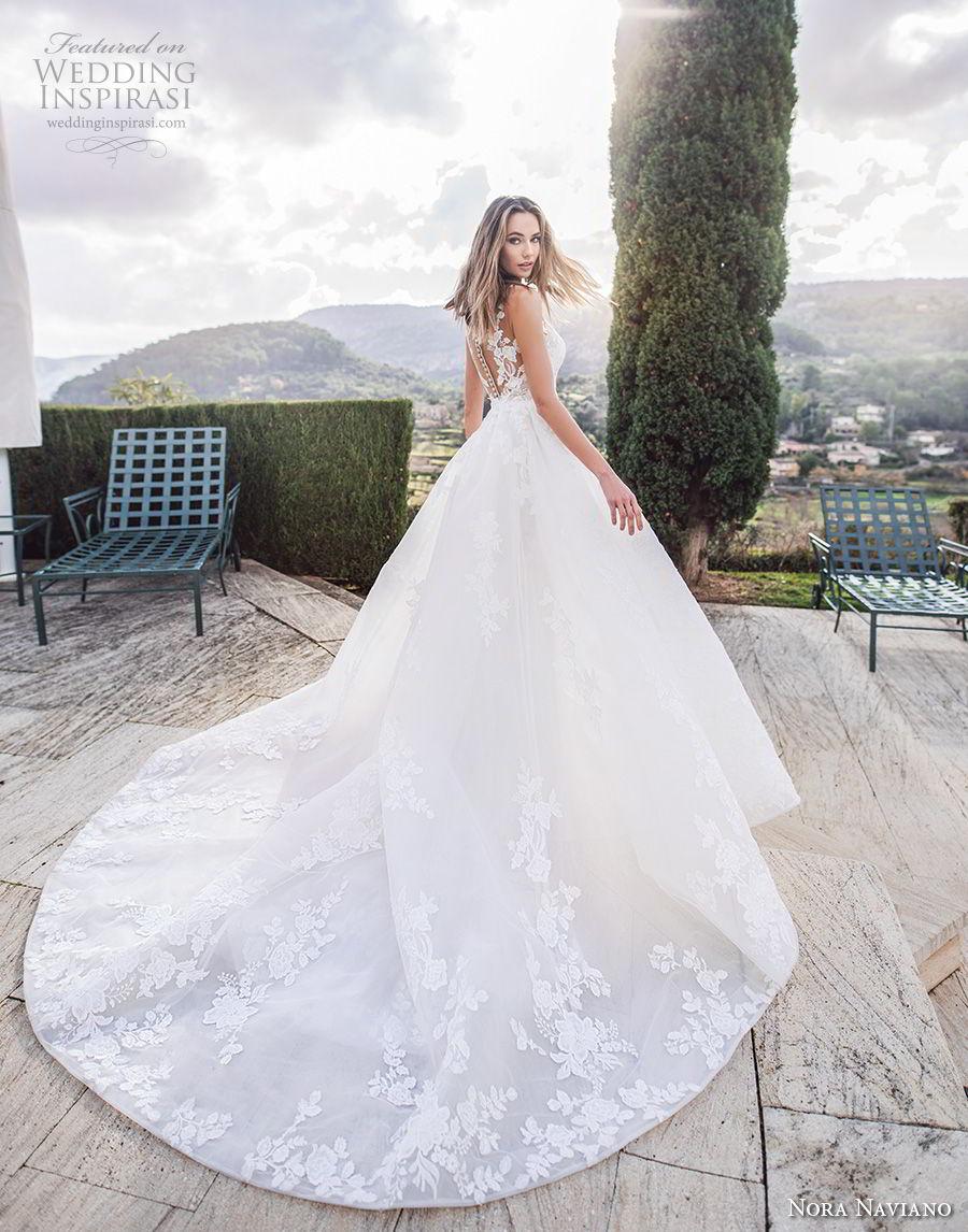 nora naviano 2019 bridal sleeveless v neck full embellishment romantic sheath wedding dress a  line overskirt sheer button back chapel train (13) bv