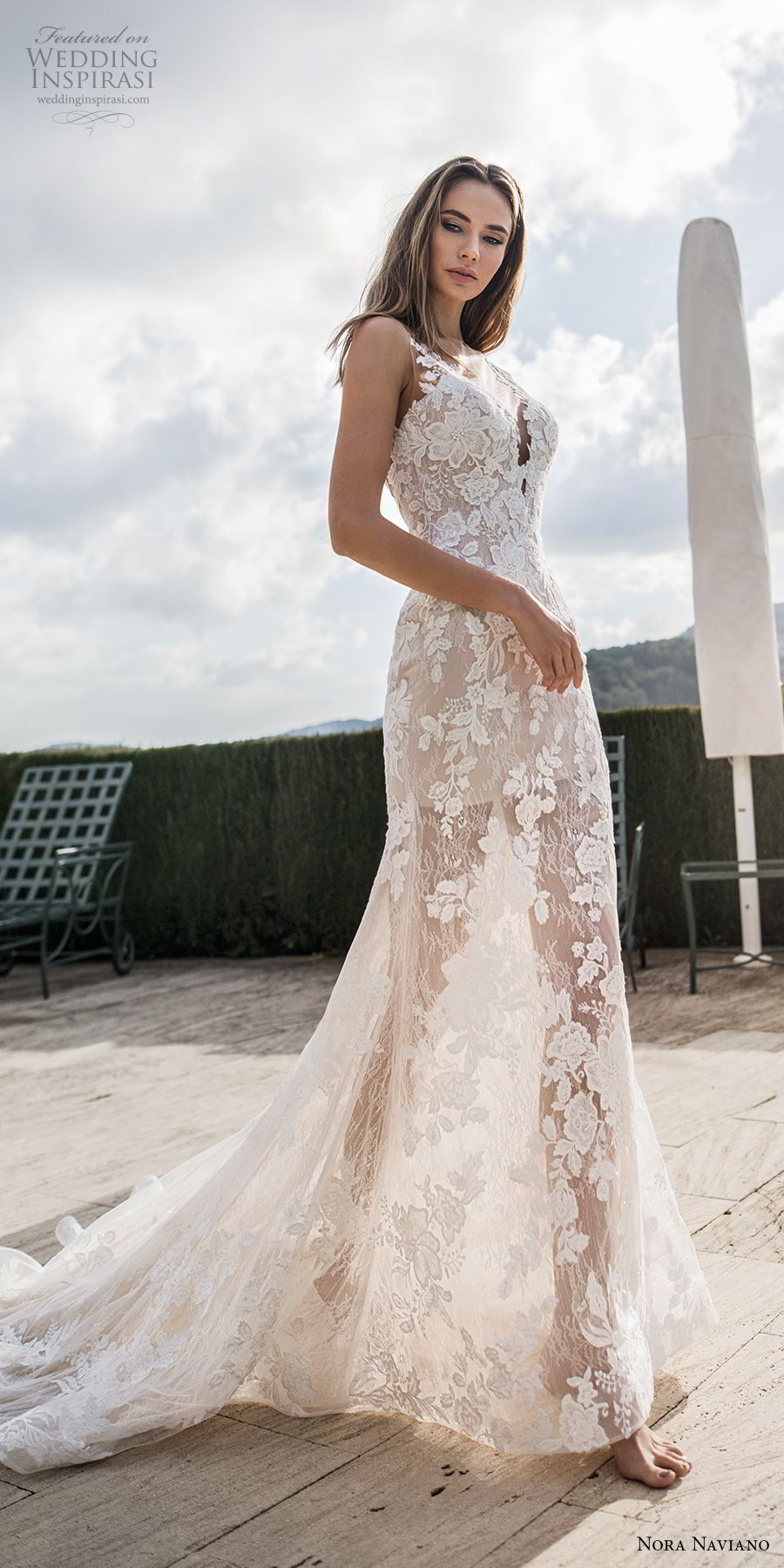 nora naviano 2019 bridal sleeveless v neck full embellishment romantic sheath wedding dress  sheer button back chapel train (13) mv