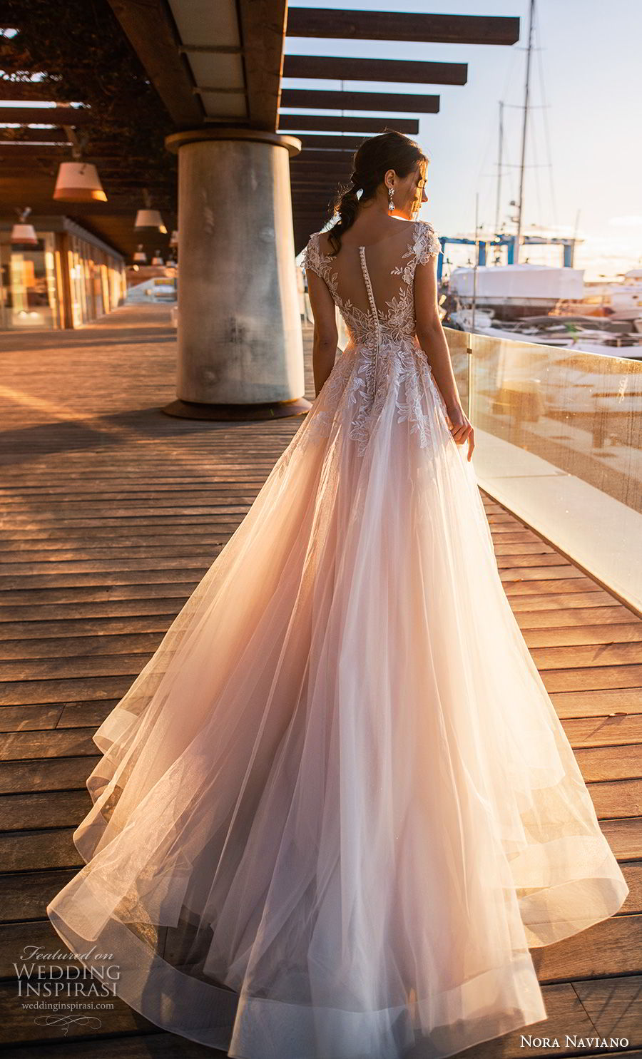 nora naviano 2019 bridal sleeveless with strap v neck heavily embellished bodice romantic soft a  line wedding dress sheer button back chapel train (8) bv