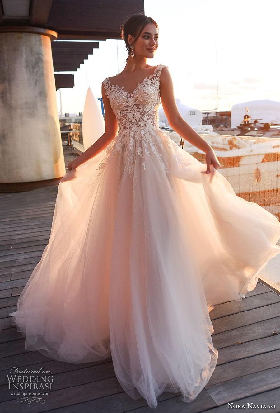 nora naviano 2019 bridal sleeveless with strap v neck heavily embellished bodice romantic soft a  line wedding dress sheer button back chapel train (8) mv