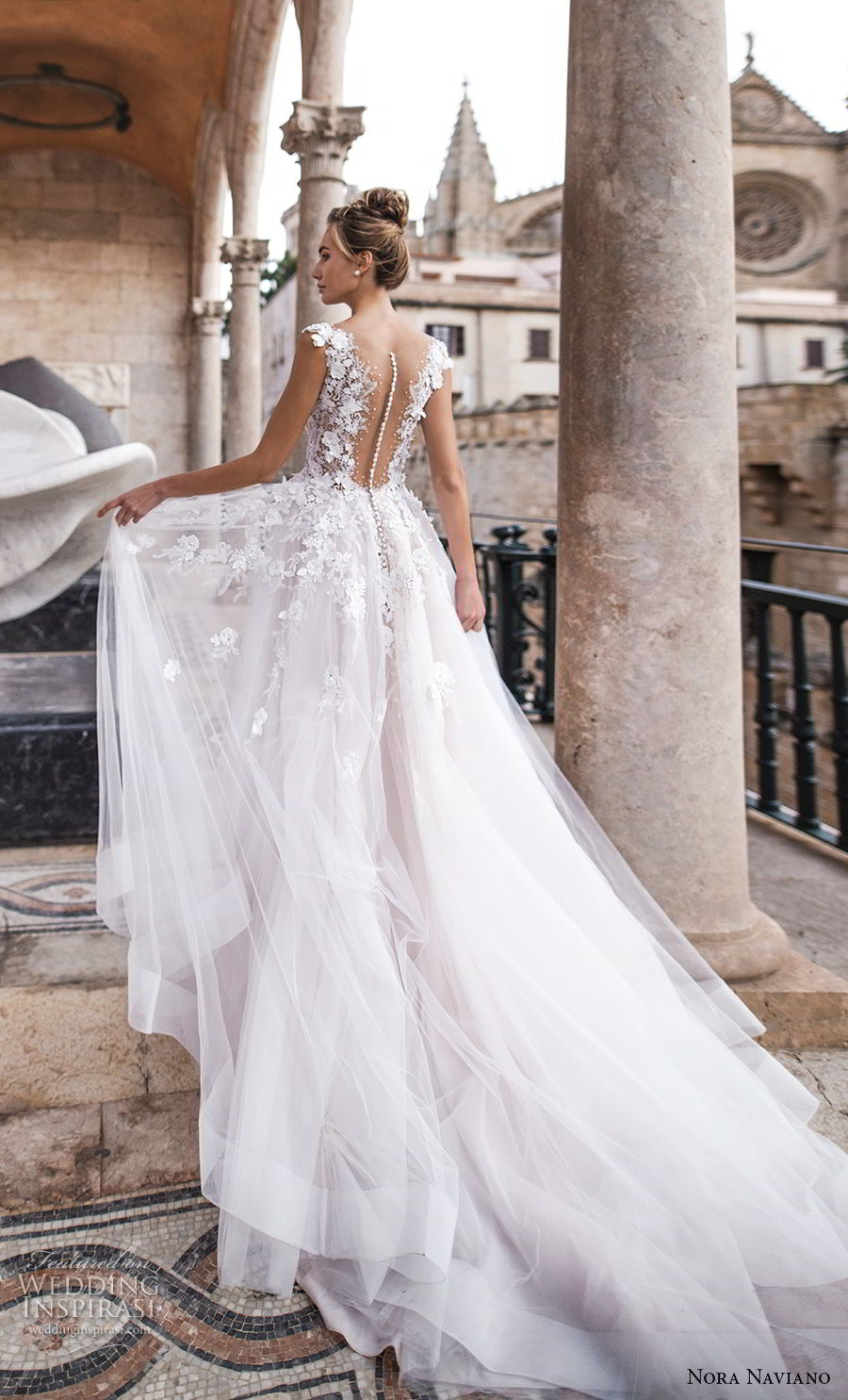 nora naviano 2019 bridal sleeveless with strap v neckline heavily embellished bodice tulle skirt romantic soft a  line wedding dress sheer button back chapel train (6) bv