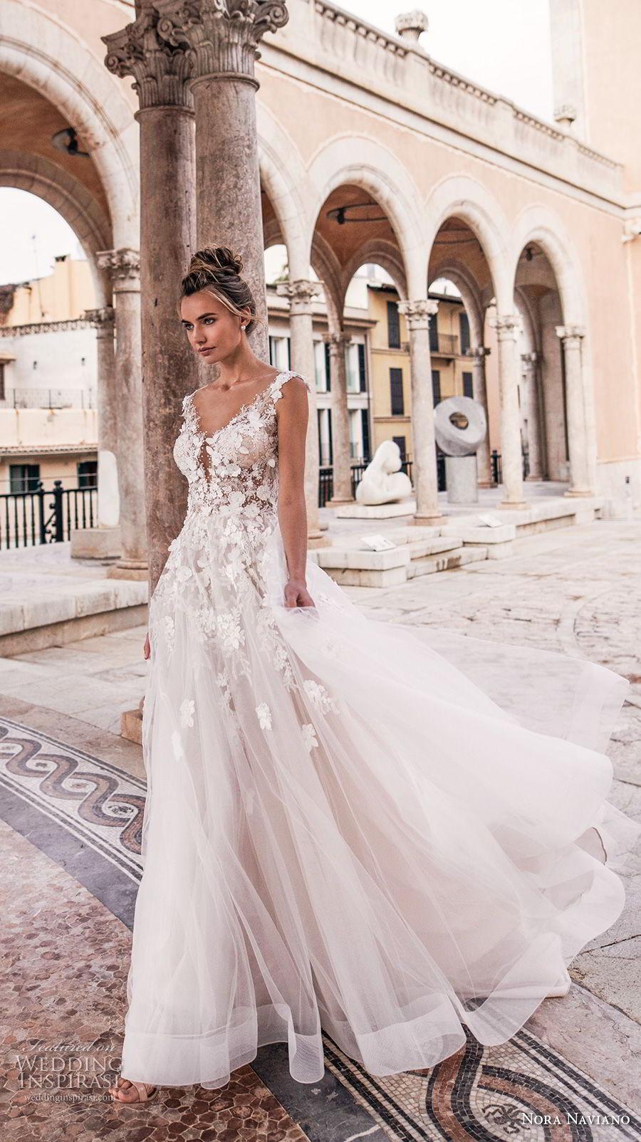 nora naviano 2019 bridal sleeveless with strap v neckline heavily embellished bodice tulle skirt romantic soft a  line wedding dress sheer button back chapel train (6) mv