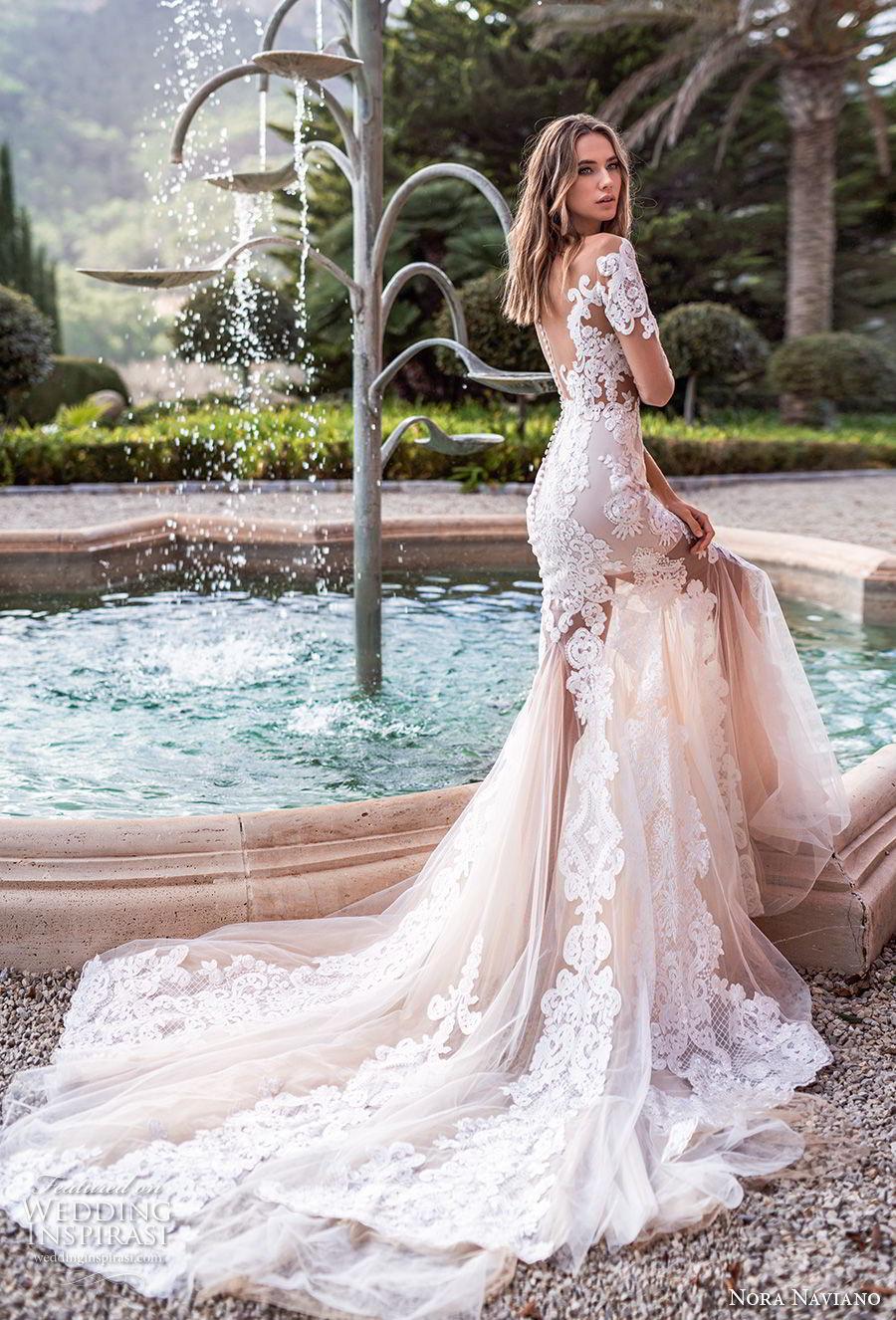 nora naviano 2019 bridal three quarter sleeves illusion bateau v neck full embellishment elegant fit and flare wedding dress sheer button back chapel train (10) bv