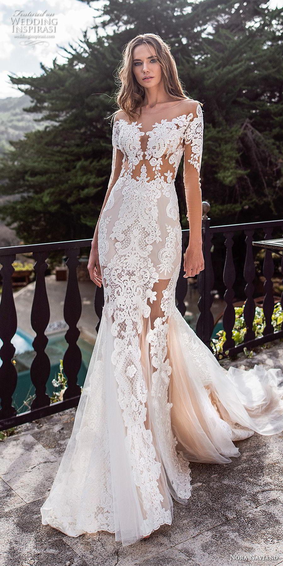 nora naviano 2019 bridal three quarter sleeves illusion bateau v neck full embellishment elegant fit and flare wedding dress sheer button back chapel train (10) lv