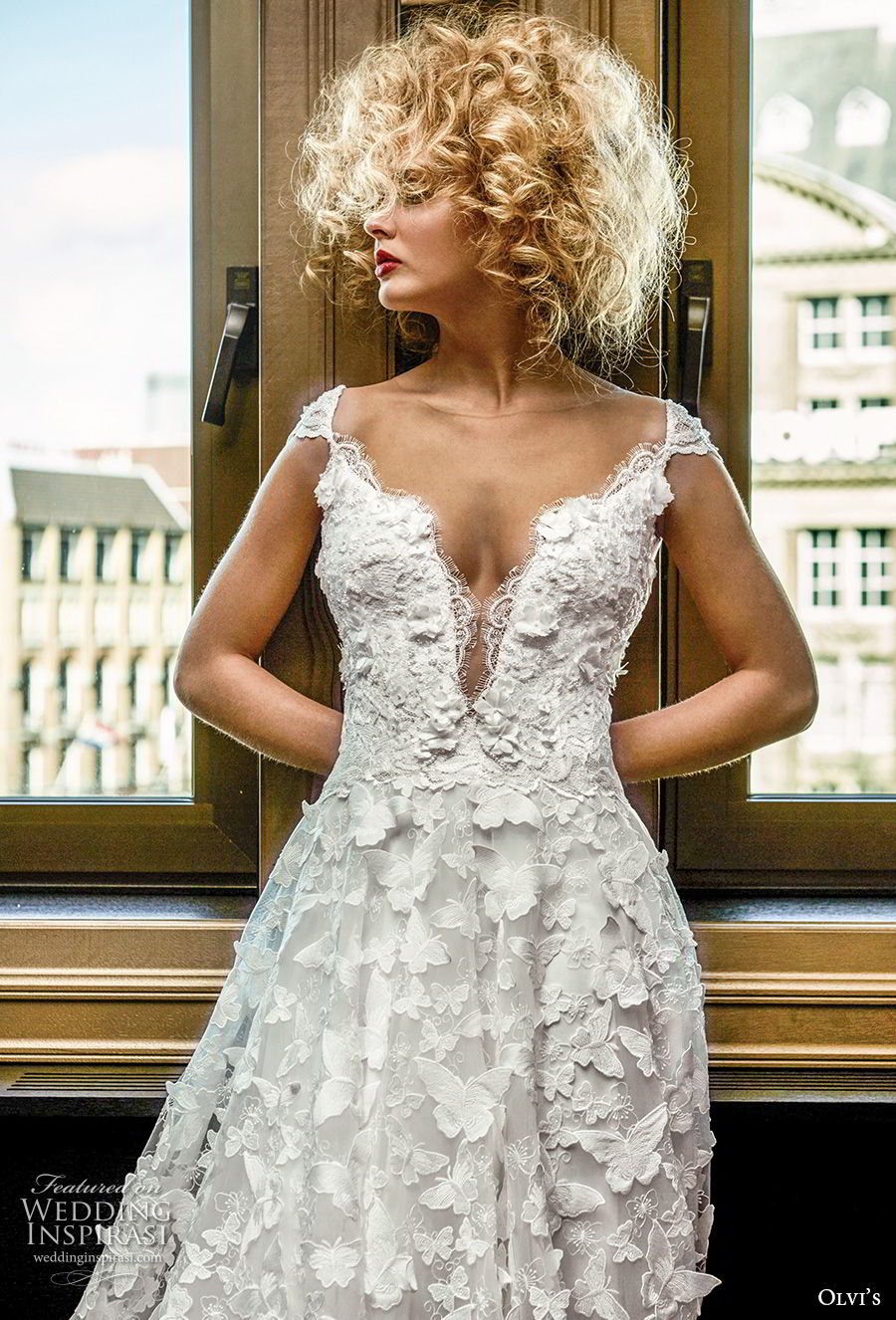 olvi 2019 bridal cap sleeves deep plunging sweetheart neckline full embellishment romantic a line wedding dress sheer lace back chapel train (21) zv
