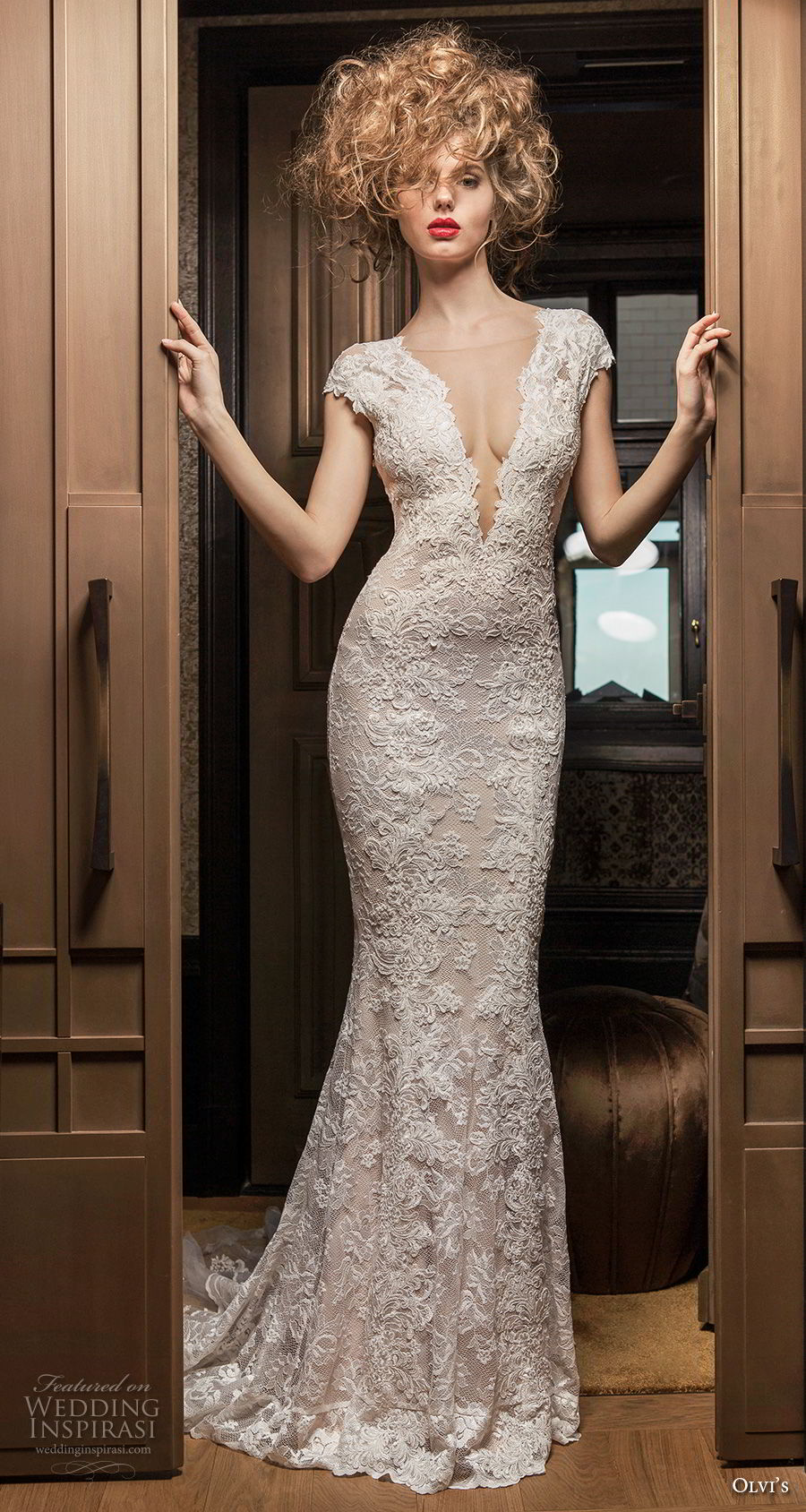 olvi 2019 bridal cap sleeves deep plunging v neck full embellishment elegant fit and flare wedding dress open v back chapel train (10) mv