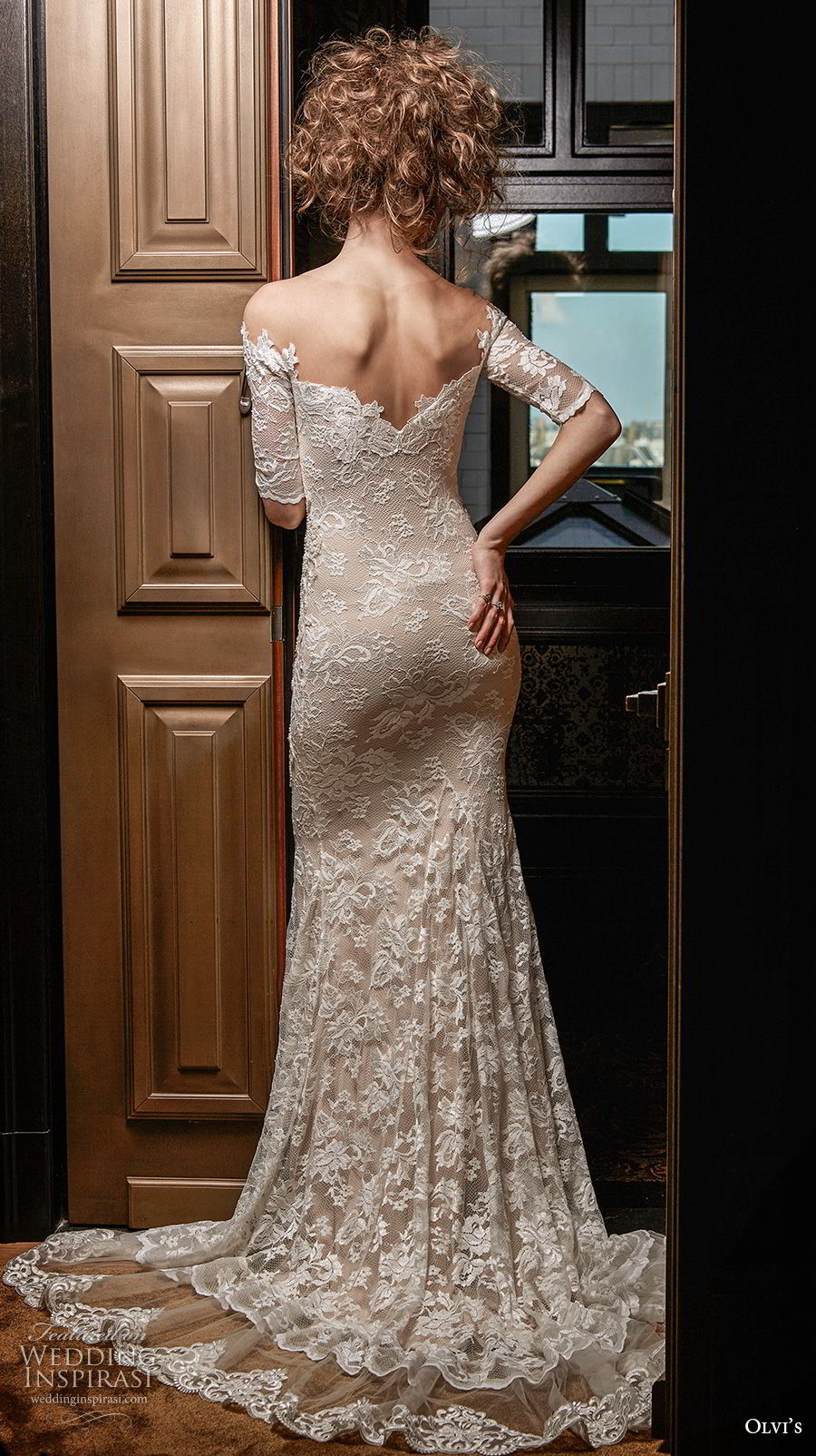 olvi 2019 bridal half sleeves off the shoulder v neck full embellishment vintage elegant fit and flare wedding dress short train (9) bv