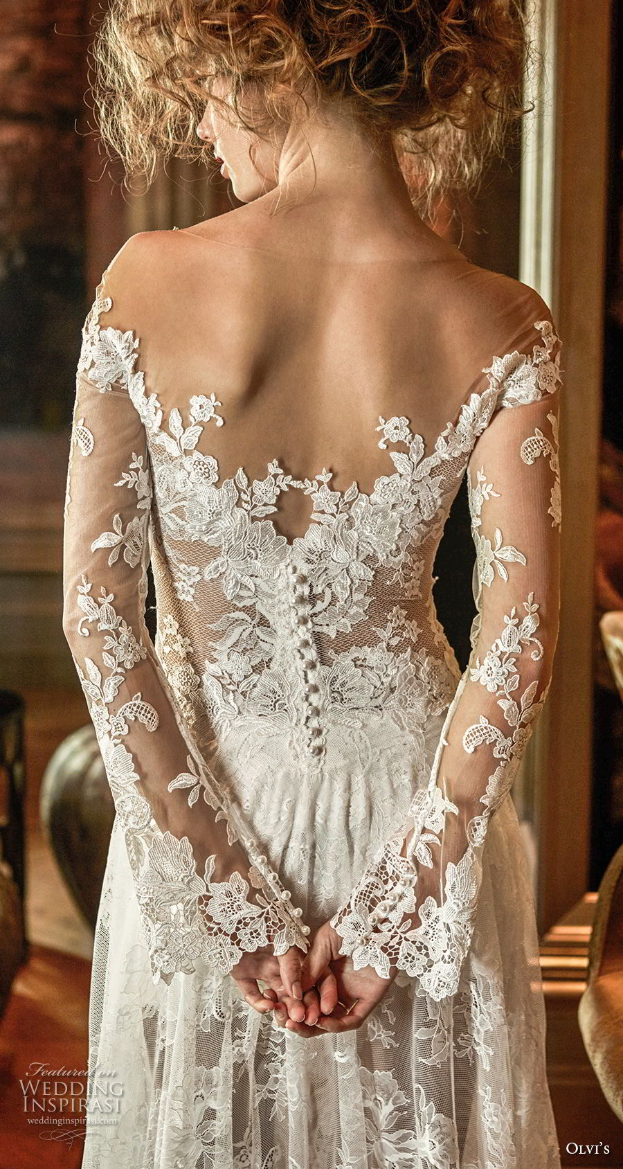 olvi 2019 bridal long bell sleeves full embellishment vintage soft a line wedding dress v back chapel train (20) zbv