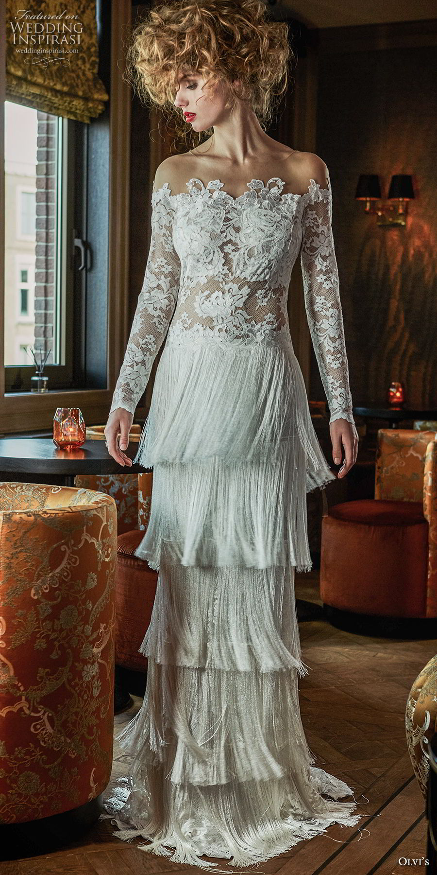 olvi 2019 bridal long sleeves off the shoulder heavily embellished bodice tiered fringe skirt bohemian vintage column wedding dress sweep train (7) mv