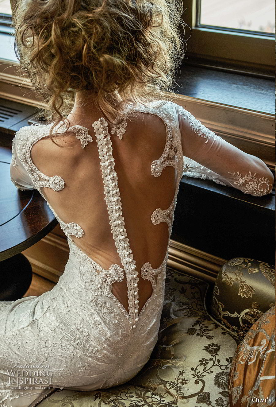 olvi 2019 bridal long sleeves sheer bateau sweetheart neckline full embellishment elegant vintage fit and flare wedding dress sheer button back short train (18) zbv