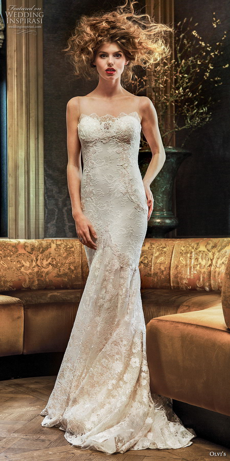 olvi 2019 bridal sleeveless illusion strapless sweetheart neckline full embellishment elegant fit and flare wedding dress v back short train (15) mv