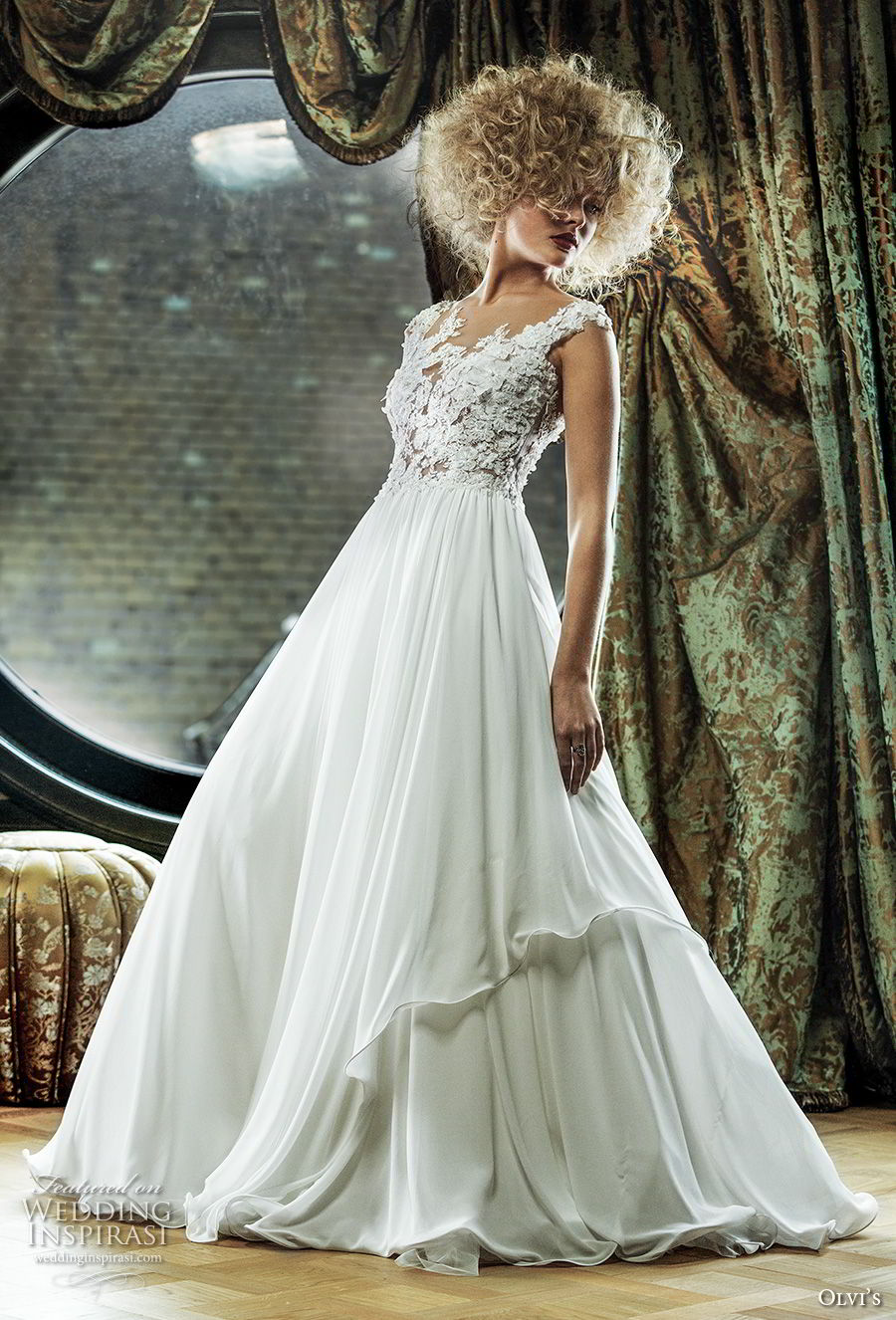 olvi 2019 bridal sleeveless v neck heavily embellished bodice romantic a line wedding dress sweep train (2) mv