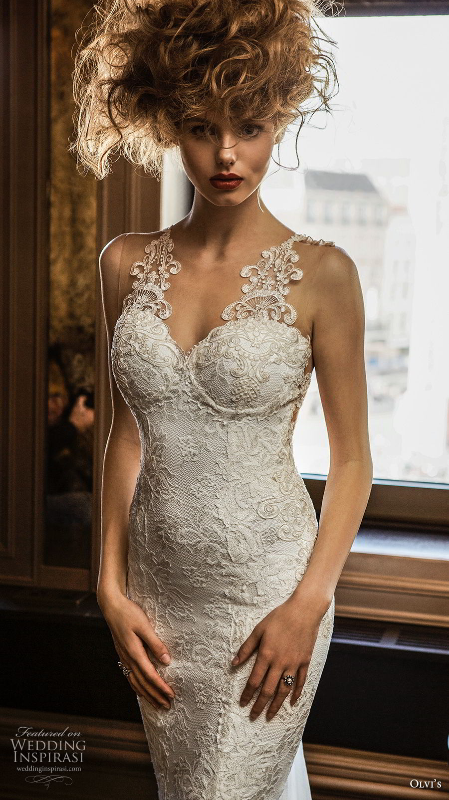 olvi 2019 bridal sleeveless with strap sweetheart neckline full embellishment elegant fit and flare wedding dress chapel train (13) zv