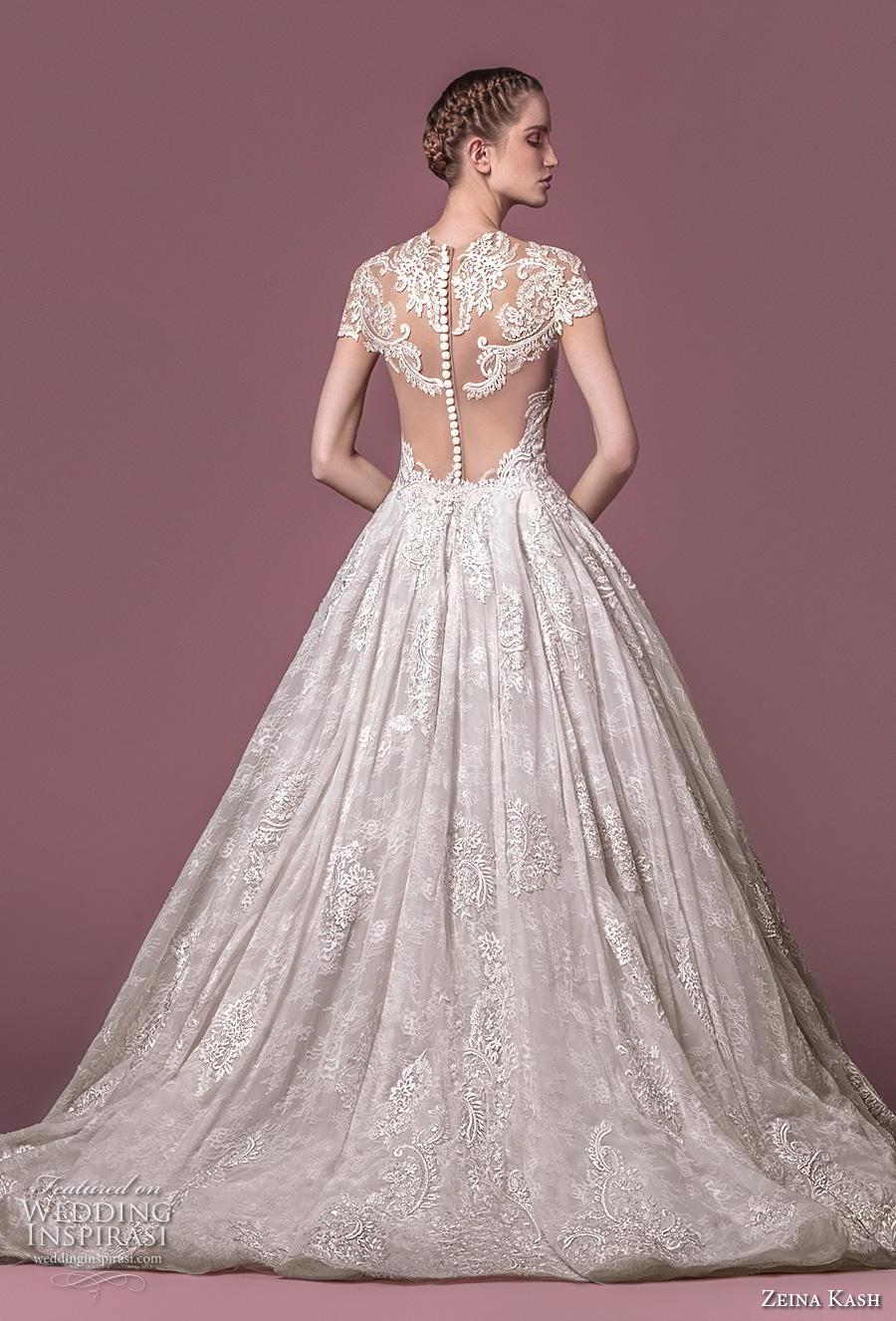 zeina kash 2018 bridal cap sleeves sweetheart neckline full embellishment elegant princess a  line wedding dress lace button back chapel train (3) bv