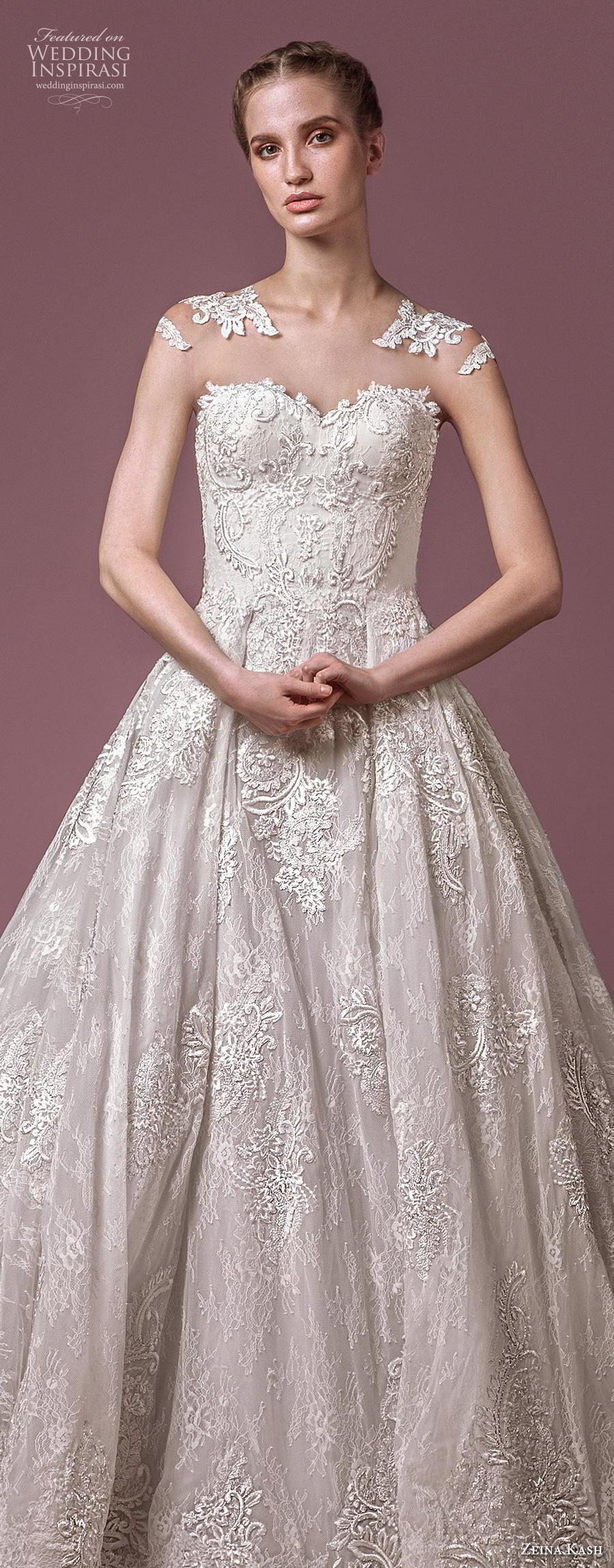zeina kash 2018 bridal cap sleeves sweetheart neckline full embellishment elegant princess a  line wedding dress lace button back chapel train (3) lv